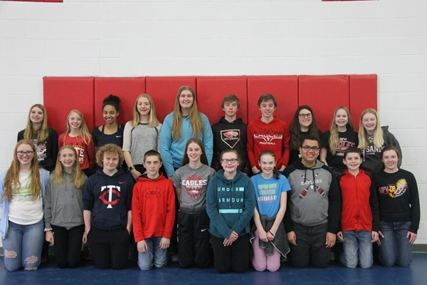 Mya Conroy, Anika Fernholz, Ayanna Gipson, Lexi Gloege, Camryn Lee, Aidan Lewis, Alexander Lewis, Claire Lowry, Rylee Lund, Madelyn Matthies, Paige Meyer, Peyton Moe, Joseph Ramsbacher, Charles Rolfsmeier, Taylor Shelstad, Audrey Sieg, Callie Sieg, Isaiah Tuckett, James Ulstad, Katelyn Wittnebel