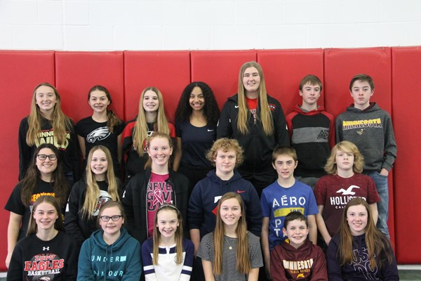 8th grade Honor RollBack L-R: Kalista Bormann, Sheridan Busse, Mya Conroy, Ayanna Gipson, Camryn Lee, Aidan Lewis, Alexander Lewis  Middle L-R:Claire Lowry, Rylee Lund, Paige Meyer, Joseph Ramsbacher, Charles Rolfsmeier, Ethan Schommer Front L-R:Taylor Shelstad, Audrey Sieg, Callie Sieg, Emily Torstenson, James Ulstad, Katelyn Wittnebel  Not Pictured: Madelyn Matthies & Peyton Moe